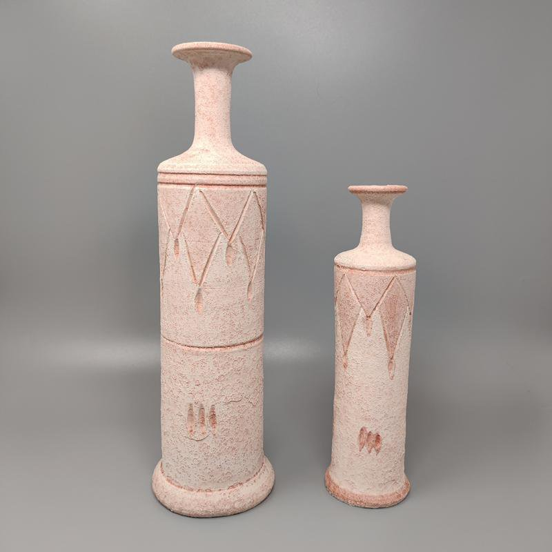1970s Amazing Pair of Vases in Ceramic in Antique Pink Color. Made in Italy