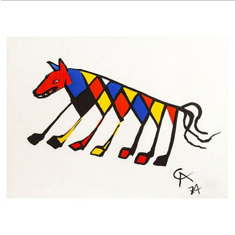 "Original Astonishing Alexander Calder ""Beastie"" Lithograph 1974"