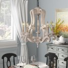 Bella 5 - Light Candle Style Classic / Traditional Chandelier with Wood Accent