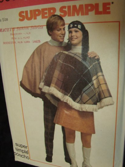 Sewing Pattern Vintage 60s 70s CAPE PONCHO NEW