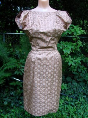 Vintage 50s SILK BROCADE Dress & Jacket QUALITY EC XS
