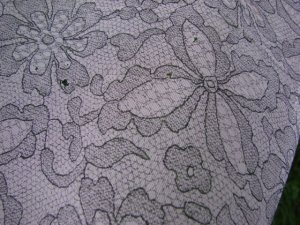 """Vintage 50s Sheer Pink Nylon FAUX LACE Print Fabric  49"""" x 2yd"""