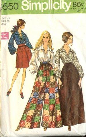 Sewing Pattern Vintage 60s Bell Bottom Pants Blouse B38
