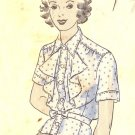 Sewing Pattern Vintage 40s Hollywood Blouse Peplum Ruffles B40