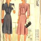 Sewing Pattern Vintage 40s Dress Bib panel Gathers B36