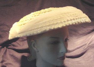 Vintage 50s Straw Hat Platter Cello TULLE Chiffon