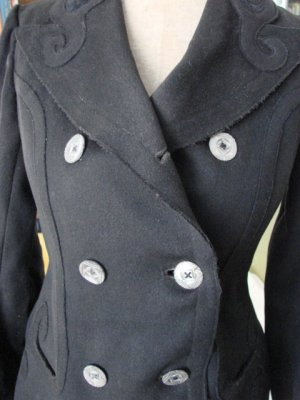 VTG Victorian Edwardian Heavy Wool APPLIQUES Jacket S