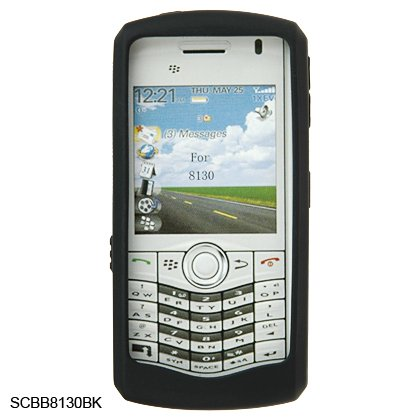 Silicone Skin Cover Case for BlackBerry 8130 Pearl - Black