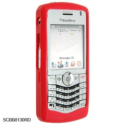 Silicone Skin Cover Case for BlackBerry 8130 Pearl - Red