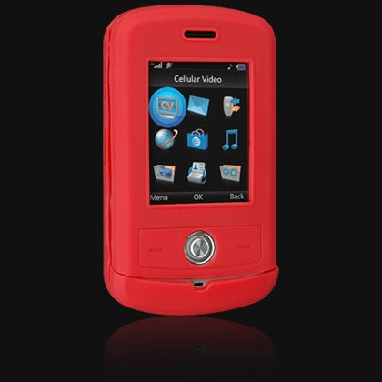 Silicone Skin Cover Case for LG Shine CU720 - Red