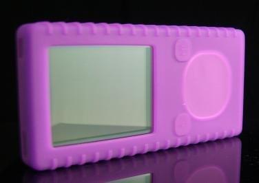 Purple Ribbed Silicone Skin Cover Case for Microsoft Zune 4GB / 8GB