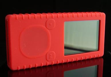 Red Ribbed Silicone Skin Cover Case for Microsoft Zune 4GB / 8GB