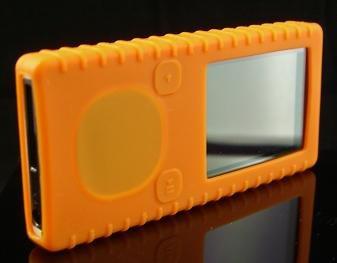 Orange Ribbed Silicone Skin Cover Case for Microsoft Zune 4GB / 8GB