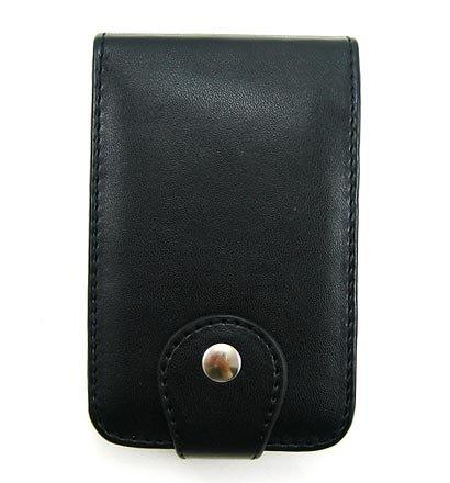 Vertical Leather Flip Cover Pouch Case for Creative Zen Vision M - Black