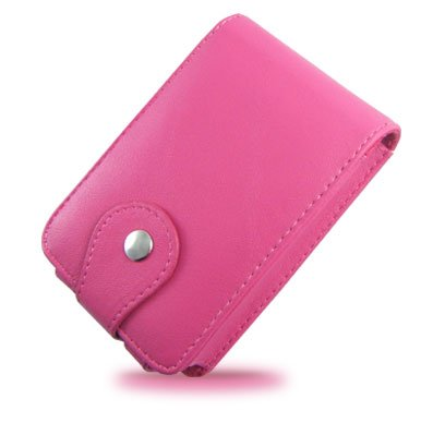 Vertical Leather Flip Cover Pouch Case for Creative Zen Vision M - Hot Pink