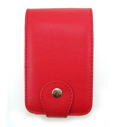 Vertical Leather Flip Cover Pouch Case for Creative Zen Vision M - Red