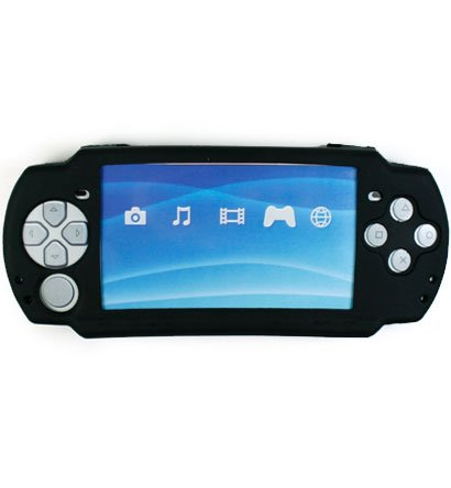 Silicone Skin Cover Case for Sony PlayStation Portable (PSP 2000) Slim - Black
