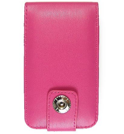 Leather Flip Cover FOLIO Carrying Case for Apple iTouch MP3 Music Video Player - HOT PINK