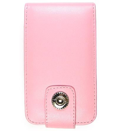 Leather Flip Cover FOLIO Carrying Case for Apple iTouch MP3 Music Video Player - PINK