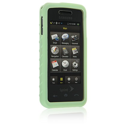 GREEN Soft Rubber Silicone Skin Case Cover for SAMSUNG INSTINCT M800 Cell Phone
