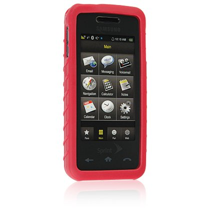 RED Soft Rubber Silicone Skin Case Cover for SAMSUNG INSTINCT M800 Cell Phone