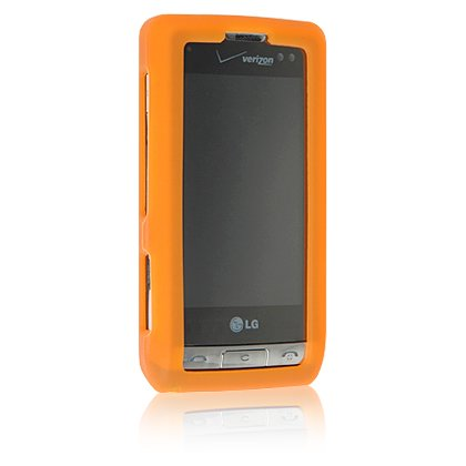 ORANGE Soft Rubber Silicone Skin Cover Case for LG DARE VX9700 Cell Phone