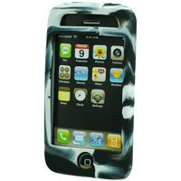 Silicone Rubber Jelly Case for Apple iPhone 3G - Black Swirls