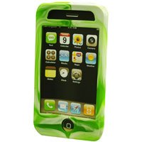 Silicone Rubber Jelly Case for Apple iPhone 3G - Green Swirls