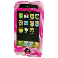 Silicone Rubber Jelly Case for Apple iPhone 3G - Hot Pink Swirls