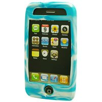 Silicone Rubber Jelly Case for Apple iPhone 3G - Light Blue Swirls