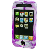 Silicone Rubber Jelly Case for Apple iPhone 3G - Purple Swirls