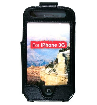Full View Leather Belt Clip Pouch Case for Apple iPhone 3G Cell Phone - BLACK