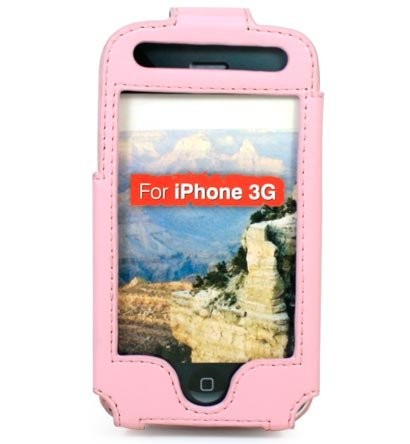 Full View Leather Belt Clip Pouch Case for Apple iPhone 3G Cell Phone - PINK