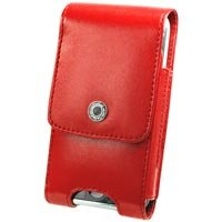 Red Vertical Noble Case with Cellet Removable Spring Clip & Swivel Clip for Apple iPhone 3G