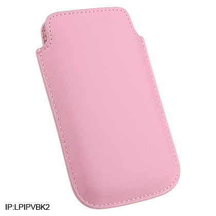 Soft Slip-On Leather Pouch Cover Case for Apple iPhone 3G Cell Phone - PINK