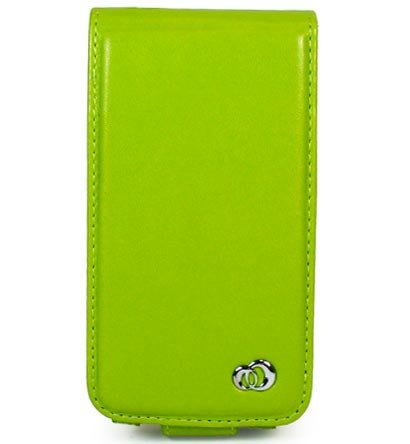 VERTICAL Leather Carrying Case Cover for Apple iPhone 3G - GREEN