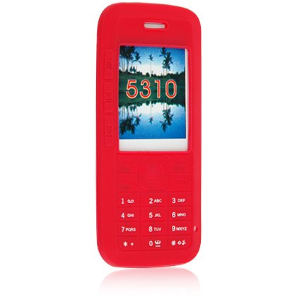 Silicone Skin Cover Case for Nokia 5310 Cell Phone - Red