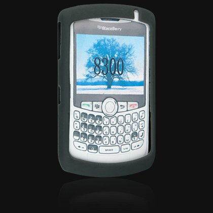 Full View Silicone Skin Cover Case for BlackBerry 8300 Curve - Black