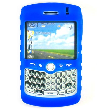 Premium Ribbed Silicone Skin Cover for BlackBerry Curve 8300 - Blue