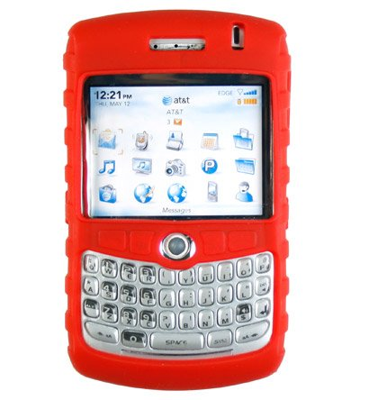 Premium Ribbed Silicone Skin Cover for BlackBerry Curve 8300 - Red