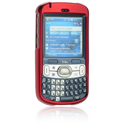 Hard Plastic Shield Protector Faceplate Case w/ Belt Clip for Palm Treo 800w - RED