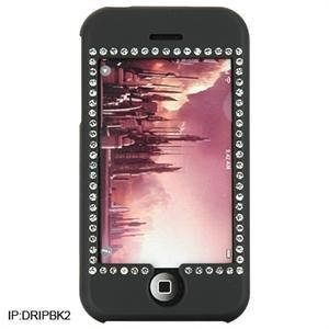 BLACK Diamond Bling Rubber Feel Hard Plastic Case for Apple iPhone