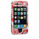 Hard Plastic Shield Protector Faceplate Case for Apple iPhone 3G - Red Hearts