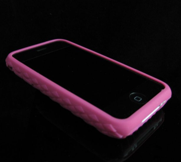 HOT PINK Premium High-Grade Textured Soft Rubber Silicone Skin Cover Case for Apple iPhone 3G