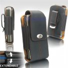 Black Leather Vertical Extendable Belt Clip Pouch Case for Samsung Behold T919 (#2)