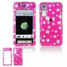 Hard Plastic Design Cover Case for Samsung Behold T919 - Pink Stars