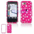Hard Plastic Design Cover Case for Samsung Eternity A867 - Pink Stars