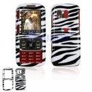 Hard Plastic Design Cover Case for Samsung Rant M540 - Black / White Zebra Stripes