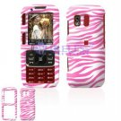 Hard Plastic Design Cover Case for Samsung Rant M540 - Pink / White Zebra Stripes
