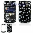 Hard Plastic Design Cover Case for BlackBerry Curve 8350i (Sprint/Nextel) - Black / Silver Stars